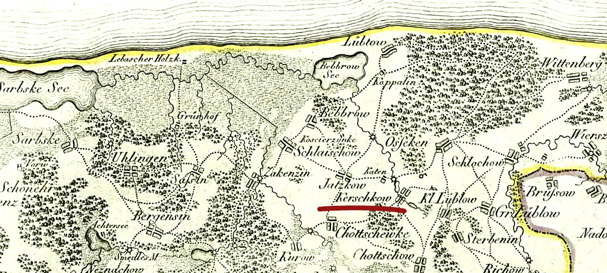 Kierzkowo i okolice - mapa z XVII w.
